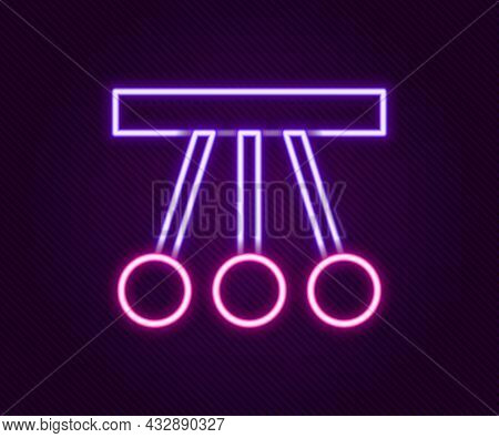Glowing Neon Line Pendulum Icon Isolated On Black Background. Newtons Cradle. Colorful Outline Conce