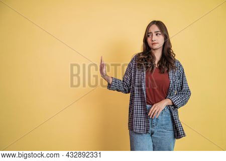 Attractive Woman With Refusing Offer Gesture Pose With Copyspace