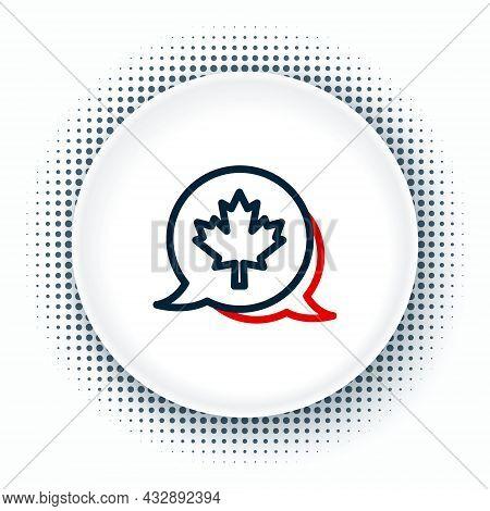 Line Canadian Maple Leaf Icon Isolated On White Background. Canada Symbol Maple Leaf. Colorful Outli