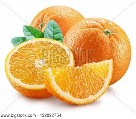 Orange fruits and orange slice with green leaves on white background. File contains clipping path.