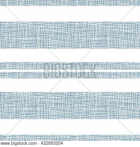 Burlap Textured Stripe Vector Seamless Pattern Background. Horizontal Wide Narrow Stripes With Coars
