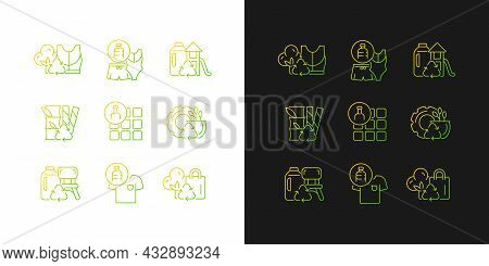 Natural Resources Conservation Gradient Icons Set For Dark And Light Mode. Reuse Plastic Products. T