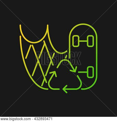 Skateboard Made From Fishing Nets Gradient Vector Icon For Dark Theme. Fishing Gear Reuse. Reduce De