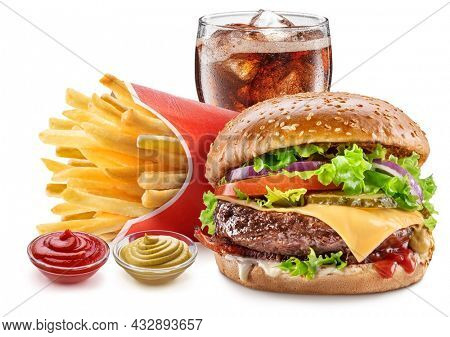 Delicious cheeseburger with cola and potato fries on the white background. Fast food concept.
