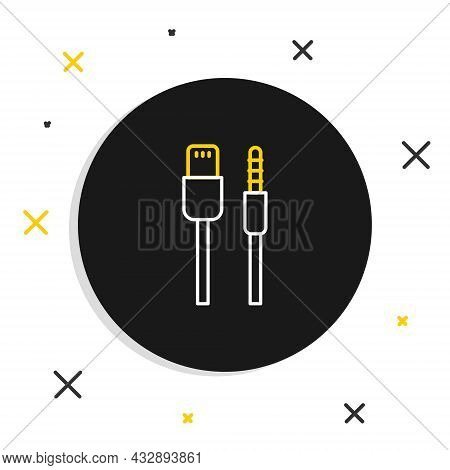 Line Usb Cable Cord Icon Isolated On White Background. Connectors And Sockets For Pc And Mobile Devi