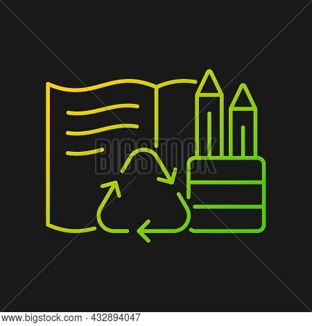 Stationery From Recycled Magazines Gradient Vector Icon For Dark Theme. Recycling Old Papers. Biodeg