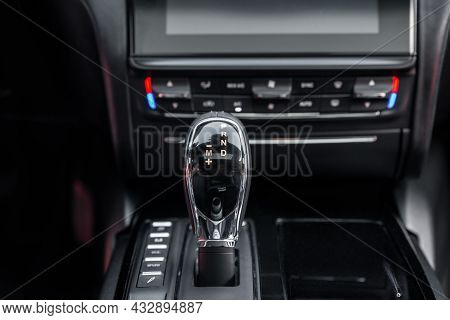 Detail Of An Automatic Gear Shifter In A New, Modern Car. Cockpit Interior Cabin Details. Car Interi