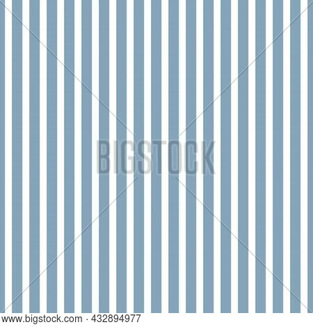 Hickory Stripe Pattern In Delft Blue And White. Old West Fabric Seersucker Style Background. Seamles