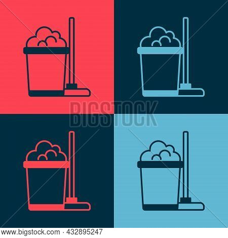 Pop Art Mop And Bucket Icon Isolated On Color Background. Cleaning Service Concept. Vector