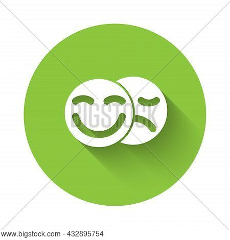 White Comedy And Tragedy Theatrical Masks Icon Isolated With Long Shadow Background. Green Circle Bu