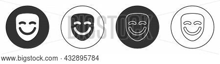 Black Comedy Theatrical Mask Icon Isolated On White Background. Circle Button. Vector