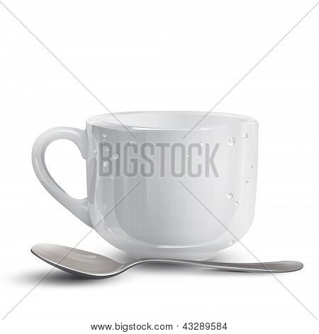 White Cup With Spoon. Vector Design.