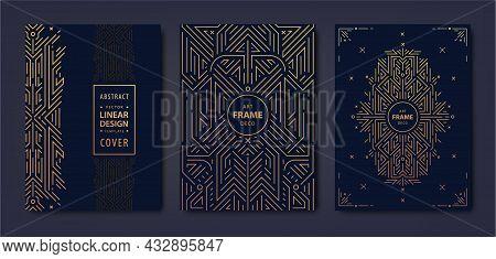 Set Of Vector Art Deco Golden Covers. Creative Design Templates. Trendy Graphic Poster, Gatsby Broch
