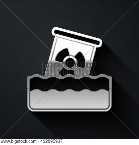 Silver Radioactive Waste In Barrel Icon Isolated On Black Background. Toxic Waste Contamination On W