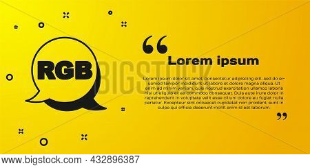 Black Speech Bubble With Rgb And Cmyk Color Mixing Icon Isolated On Yellow Background. Vector