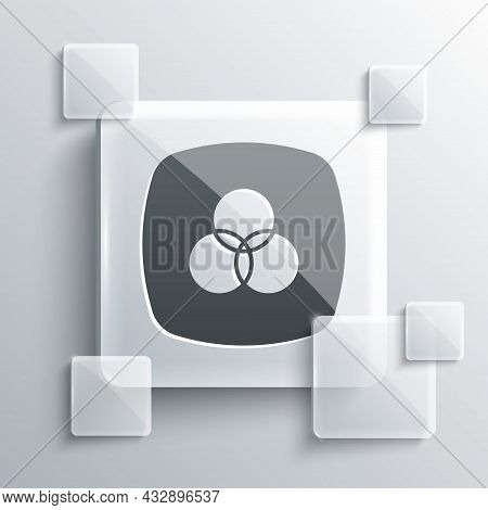 Grey Rgb And Cmyk Color Mixing Icon Isolated On Grey Background. Square Glass Panels. Vector
