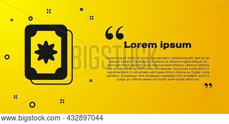 Black Tarot Cards Icon Isolated On Yellow Background. Magic Occult Set Of Tarot Cards. Vector