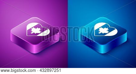 Isometric Heart Shaped Canada Flag Icon Isolated On Blue And Purple Background. Love Canada Symbol.