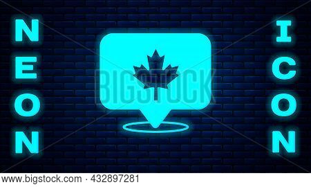 Glowing Neon Canadian Maple Leaf Icon Isolated On Brick Wall Background. Canada Symbol Maple Leaf. V