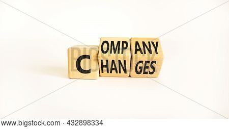 Company Changes Symbol. Turned Wooden Cubes And Changes The Word 'company' To 'changes'. Beautiful W