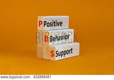 Positive Behavior Support Symbol. Concept Words Positive Behavior Support On Wooden Blocks On A Beau