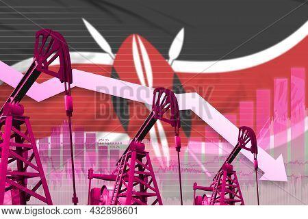 Kenya Oil Industry Concept, Industrial Illustration - Lowering Down Chart On Kenya Flag Background.