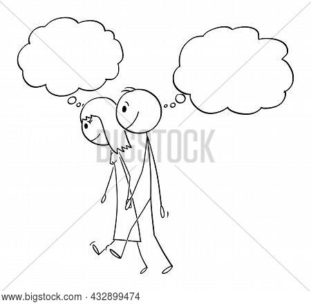 Heterosexual Couple Of Man And Woman Is Walking And Thinking,  Cartoon Stick Figure Illustration