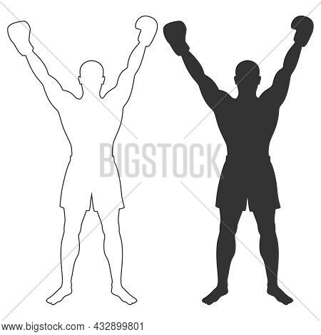 Fighter Man Graphic Icons. Boxer Winner Signs Isolated On White Background. Boxing Symbol. Vector Il