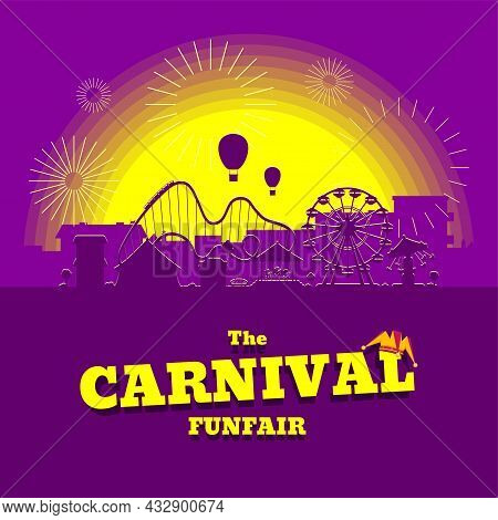 Carnival Funfair Banner. Amusement Park With Circus, Carousels, Roller Coaster, Attractions On Sunse
