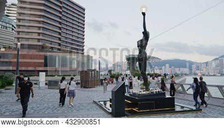 Tsim Sha Tsui, Hong Kong 27 May 2021: Hong Kong promenade