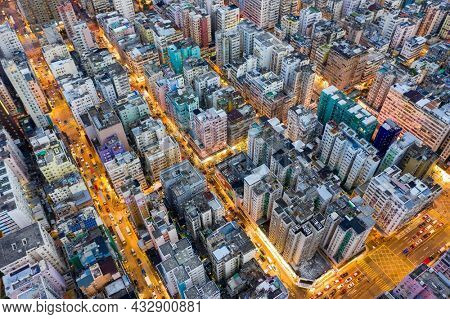 Sham Shui Po, Hong Kong 06 August 2021: Top down view of Hong Kong city