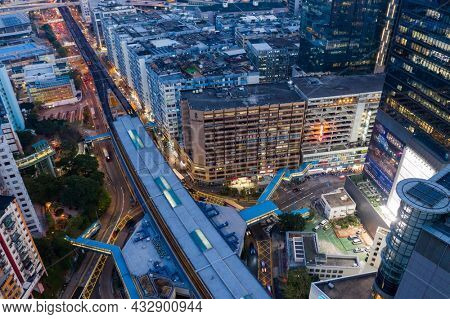 Kwun Tong, Hong Kong 25 February 2021: Top view of Hong Kong city at night