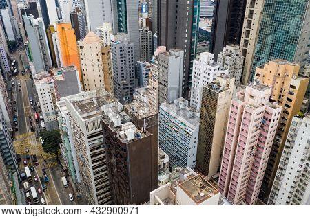 Causeway Bay, Hong Kong 11 January 2021: Top view of Hong Kong city