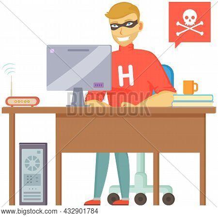 Hacker Attack. Hacker Breaks Into Computer. Cyber Attacker Cracker Trying To Hack Laptop Password, M