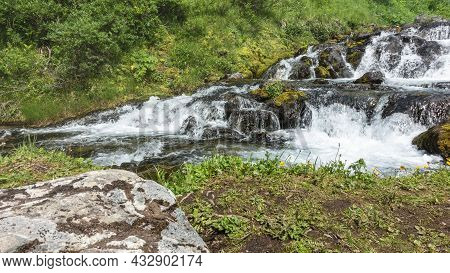 A Mountain Stream Cascades Down The Rocks. There Are Moss And Lichens On The Boulders. Green Vegetat