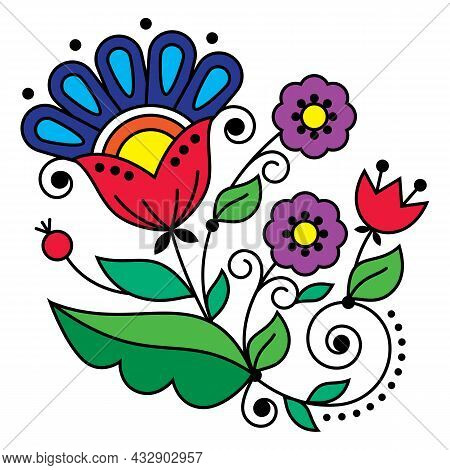 Floral Folk Art Vector Design Inspired By Traditional Embroidery Patterns From Sweden, Scandinavian