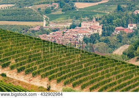 Beautiful View Of Sinio Town And Nebbiolo Grapes Vineyards, Piemonte, Langhe Wine District And Unesc