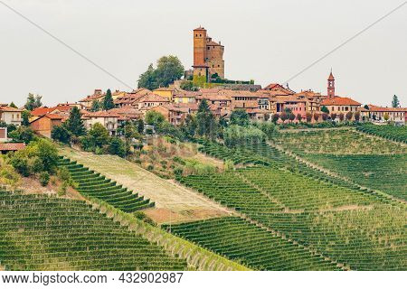 Beautiful View Of Serralunga D'alba With Castle And Nebbiolo Grapes Vineyards, Piemonte, Langhe Wine