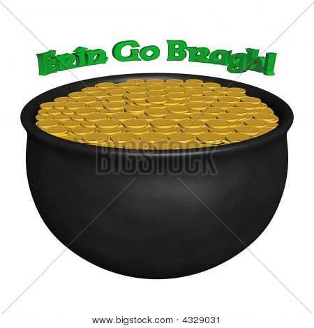3D Rendered Pot Of Gold With Irish Saying