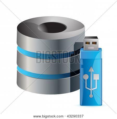 Modern Computer Server And Usb Stick