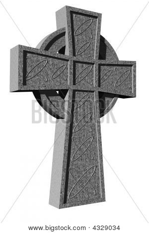 Stone Celtic Cross, 3D Rendered, Isolated On White