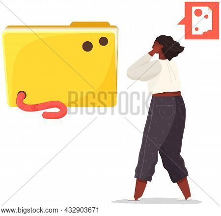 Security System Technology Icon. Worm Damages Computer Folder With Data Files. Girl Looks In Fright