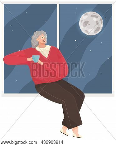 Woman Sitting On Windowsill At Home Looking Out Window At Moon, Relaxing, Dreaming, Drinking Tea In