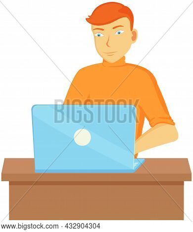 Working Male Character Employee In Office Sitting At Table With Computer Typing On Keyboard Communic