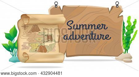 Marine Life Element Treasure Map Isolated On White Background. Map With Path To Treasure And Seaweed