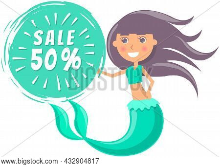 Summer Sale With Mermaid At Sea. Advertising Banner With Underwater Life Of Sea Creature. Nixie On B