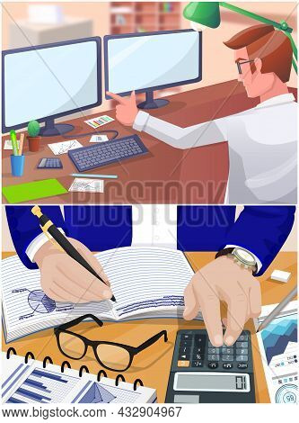 Businessman Working With Documents Sitting At Table Checks Results Of Financial Activities. Man Work