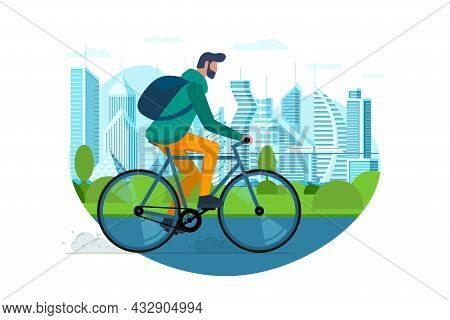 Man Ride On Bike In City Public Park. Urban Outdoor Eco-friendly Transport Concept. Young Person Sha