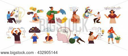 Mind Behavior Concept. Creative Thinking. People With Different Mental Mindset Types Or Models Creat
