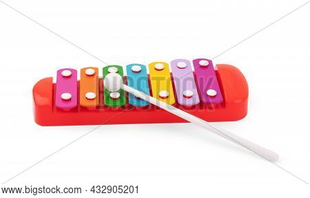 Colour Xylophone Isolated On White Background Tone, Equipment, Rhythm, Colored, Wooden, Toy